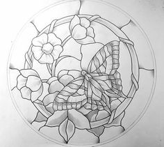 Swallowtail Stained Glass Pattern 17.5 Round 2 prints