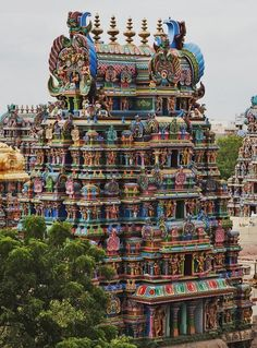 Meenakshi Temple, Madurai, INDIA. Located on the southern bank of the Vaigai River in the 2500-year-old city of Madurai, the Meenakshi Amman Temple is dedicated to the gods Meenakshi (Parvati) and Sundareswarar (Shiva). The temple consists of 14 gopurams (gateway towers), all between 100-170 feet high, and two vimana (shrines).This is 72 of 75 places so colorful it's hard to believe they're real. Discover your next travel destination!