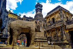 Rock-cut Temple of Kailasa, Ellora, India - Built in the 8th Century CE.