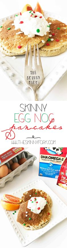 So happy for the #HorizonHolidays! You've got to make these Skinny Whole Wheat Egg Nog Pancakes with @HorizonOrganic. #MoreHonestFood is one of the best gifts you can give! #HorizonSnacks are great for the holidays. What's your favorite? #Ad TheSkinnyFork.com | Skinny & Healthy Recipes