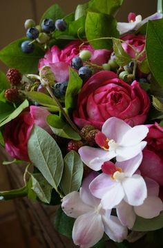 rose,orchid and berries