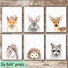 Woodland Animals Nursery Wall Art Prints (Set of 6) - Unframed - 11x14s - Framed Prints / White