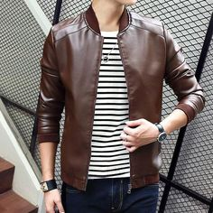 Men's Casual Cool Fashion PU Soft Leather Jacket