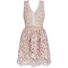 Mink Premium Lace Ladder Trim Skater Dress (3,080 DOP) ❤ liked on Polyvore featuring dresses, pink dress, skater dress, pink mini dress, v neck fit and flare dress and cocktail dresses