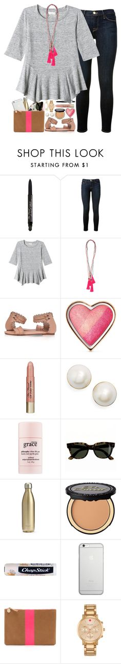 """""""Friendly hack!!!  Rtd!"""" by southern-belle606 ❤ liked on Polyvore featuring Too Faced Cosmetics, Frame Denim, Rebecca Taylor, Kate Spade, philosophy, J.Crew, S'well, Chapstick, Native Union and Clare V."""