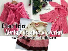 Blusa Crochet para Todos los Talles / Tutorial Crochet Jacket Pattern, Crochet Cardigan Pattern, Crochet Blouse, Crochet Bikini, Crochet Girls, Crochet For Kids, Crochet Baby, Crochet Fruit, Diy Crafts Crochet