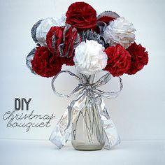 Make a #DIY #Christmas Pom Pom Tissue Paper Bouquet @savedbyloves