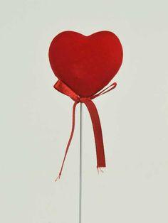 hart fluweel met strik op stok