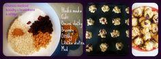 Recept na ovesné koláčky s brusinkami. 100 g - ovesných vloček 140 g hladké mouky 125 g třtinového cukru (dala jsem obyčejný, jelikož doma máme stevii a to sladí mega a nevěděla jsem kolik) 50 g vlaškých nebo lískových oříšků 1 a půl lžičky jedlé sody(tu jsem vynechala, pač jsme ji doma neměli ) špetka mleté skořice(dala jsem mini lžičenku) 6 lžic sušených brusinek (to je skoro stejný množství jako 50g-60g ořechů) nasekaných 125 g másla 3 lžíce javorového sirupu nebo medu(dávala jsem med)