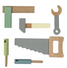 SEBRA Holz Werkzeug Kinder 6 Teile Set Kinderwerkzeug Spielzeug Säge Werkbank