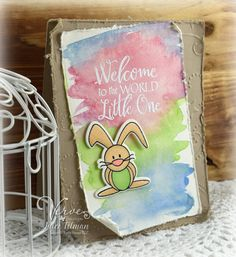 Hand stamped baby card by Julee Tilman using the Welcome Plain Jane, Hip Hop Bunnies stamp set and Bunny Hop Die Set from Verve. #vervestamps Bunny Diva Inspiration Hop - Poetic Artistry