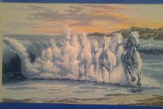 Wave horses counted cross stitch