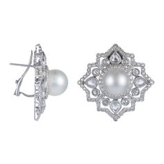 White South Sea Pearl Earrings with White Gold & Diamonds Accents (TARA1 1057734)