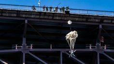 Idaho- The parachute attached to Angela and her BASE-jumping expert deploys after they jump off the Perrine Bridge.