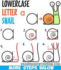 How to Draw Cartoon Snail from Lowercase Letter a – Easy Step by Step Drawing Tutorial for Kids – How to Draw Step by Step Drawing Tutorials – Doodles Word Drawings, Art Drawings For Kids, Doodle Drawings, Drawing For Kids, Easy Drawings, Animal Drawings, Drawing Animals, Dragon Drawings, Drawing Lessons