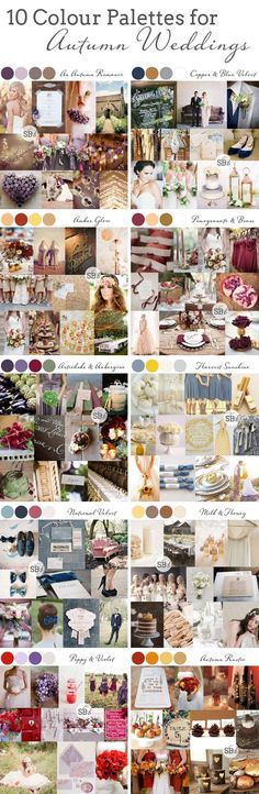 10 Autumn/Fall Colour Palettes | SouthBound Bride | Full credits & links: http://www.southboundbride.com/10-autumn-wedding-colour-palettes