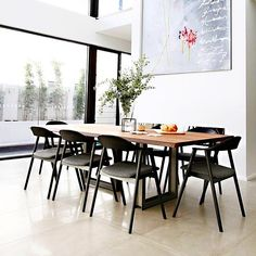 Swanbourne WA installation - beautiful interior design by featuring the Karm dining chairs by Softline. Dining Chairs, Dining Room, Dining Table, Beautiful Interior Design, Furniture Design, Black Chairs, Contemporary, Armchairs, Kitchen