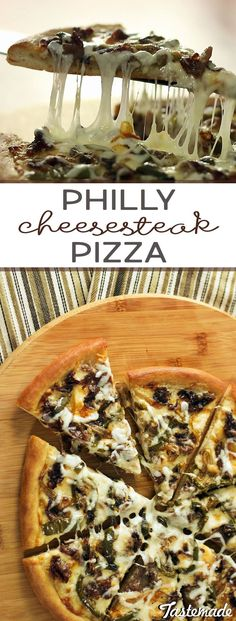 Philly Cheesesteak Pizza 🍕 Satisfy those late-night hungers by combining two classic street foods. Pizza Recipes, Meat Recipes, Dinner Recipes, Cooking 101, Cooking Recipes, My Favorite Food, Favorite Recipes, Good Food, Yummy Food