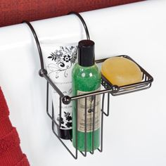 Over the Rim Shampoo Bottle and Soap Basket - Clawfoot Tub Accessories - Bathroom Accessories - Bathroom