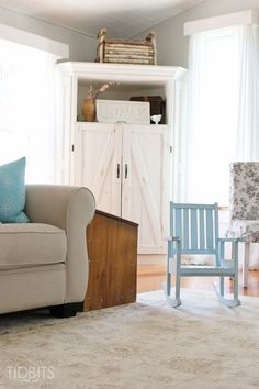 Cottage Fresh Living Room love the small blue chair for little visitors...love the hutch..cld I revise pine bookcases to look like this for possible clothing storage option ?