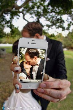 iPhone kiss wedding photo