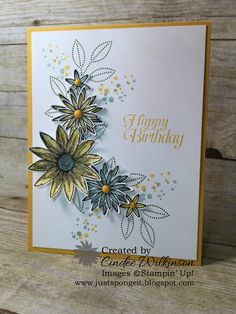 Friday, January 8, 2016 Just Sponge It: Stampin' Up! Grateful Bunch, Timeless Textures, Blossom Bunch Punch, It's My Party Enamel Dots by Cindee http://www.justspongeit.com/2015/12/i-am-totally-grateful.html