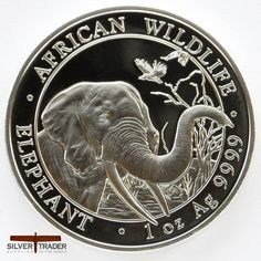2018 Somalian Elephant 1 oz 999 Silver Bullion Coin Minted by the Bayerisches Hauptmünzamt Mint in Munich, Germany under license from Somalia. Bullion Coins, Silver Bullion, Silver Investing, Monet, Elephant, Coins, Stamps, Silver, Elephants