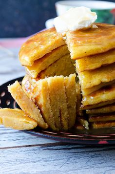 Pumpkin Pancakes with Caramel |giverecipe.com | #pancakes #pumpkin #fall…
