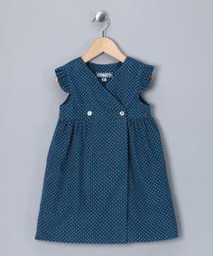 Blue Polka Dot Corduroy Wrap Dress - Infant & Girls