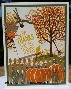 Handmade Thanksgiving card. Created using the Sheltering Tree & Fall Fest stamp set from Stampin ' Up!.  Handmade by: Quinn eBay user name decamerax3