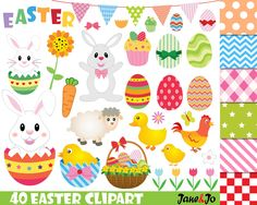 40 Easter clipart, Easter clip art, Easter bunny clipart,easter egg clipart,Easter Egg Clipart,Easter day Clipart,bunny clipart,rabbit egg by JaneJoArt on Etsy https://www.etsy.com/uk/listing/273351844/40-easter-clipart-easter-clip-art-easter