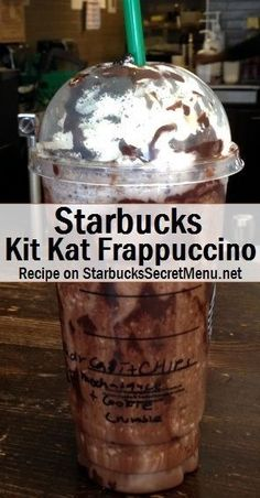 Starbucks Kit Kat Frappuccino Full of chocolate flavor and crunch, the Kit Kat Frappuccino is a delicious chocolaty treat, much like it's popular chocolate bar counterpart. Starbucks Caramel Frappuccino, Starbucks Logo, Mocha Frappe Recipe, Starbucks Hacks, Starbucks Secret Menu Items, Bebidas Do Starbucks, Starbucks Secret Menu Drinks, How To Order Starbucks, Desert Recipes