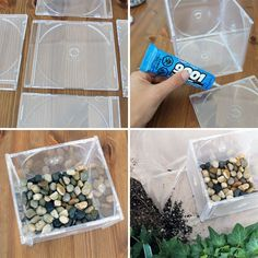 10 Ways to Repurpose CDs & CD Cases via Brit + Co.To create the planter Glue the edges (with a multi-purpose adhesive like E-6000), press together, and let dry overnight. Add extra glue from the inside of the box planter to seal up any holes. Un-pot your plant, repot it, and you're done. We added stones at the bottom for a bit of extra weight.