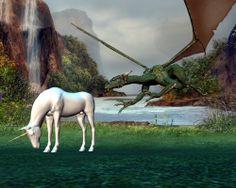 Dragon attacking a unicorn