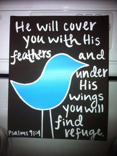 Bible Verse Bird Canvas Ps 91