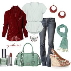 """Love the cardigan. Not crazy about the white top but like everything else.   """"Red and Mint"""" by cynthia335 on Polyvore"""