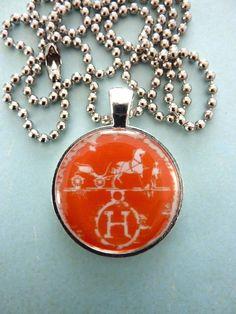 Hermes scarf pendant equestrian necklace designer logo jewelry.. via Etsy.