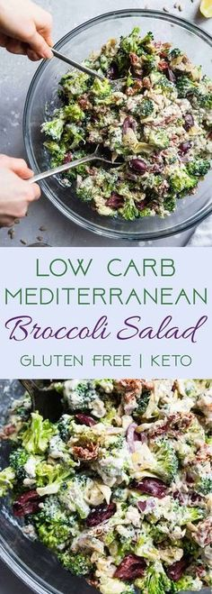 Carb Mediterranean Broccoli Salad - This Low Carb Broccoli Salad, with a Greek twist, is a super easy, healthy and protein packed side dish for dinner or a potluck! It's made with Greek yogurt and…More 6 Mouth Watering Low Carb Dinner Salad Recipes Low Carb Recipes, Vegetarian Recipes, Cheap Recipes, Vegetarian Dinners, Super Healthy Recipes, Heart Healthy Recipes, Greek Recipes, Family Recipes, Cooking Recipes