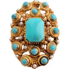 Vintage BSK Brooch Pendant Faux Turquoise Seed Pearls Gold Tone Egyptian Revival Design from Antik Avenue on Ruby Lane #vintagebrooch #bskbrooch #vintagejewelry