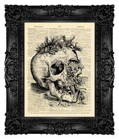 Dark Art goth Art Horror Art Skull Print by MadameBricolagePrint, $10.00