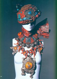 Iris Apfel some of her collection of traditional Mongolian and Tibetan ceremonial jewellry and headpieces