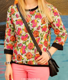 @· ZARA · quilted floral top on #thekeytochic