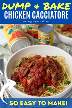 Chicken Cacciatore, Cacciatore Recipes, Yummy Chicken Recipes, Delicious Dinner Recipes, Turkey Recipes, Dump Chicken, Easy Oven Baked Chicken, Slow Cooked Chicken, Easy Weeknight Meals