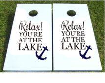 Relax! You're At The Lake - Vinyl Decal Set For Corn Hole Boards