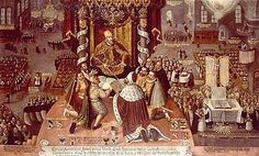 "This is a depiction of the 1555 Peace of Augsburg with Emperor Charles V and the Protestant German Princes make peace. Charles V declares that ""cuius regio, euis religio"" meaning His reign, His religion, ending the majority of religious conflicts among the territories. This also allowed the people to migrate freely between the territories due to religious differences while acknowledging that both Protestantism and Catholicism were in Germany. Victoria (germanculture.com)"