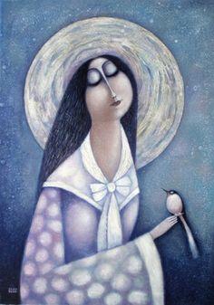 Femme et oiseau - woman with bird by Vladimir Olenberg