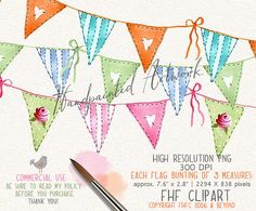 Flags Bunting Digital Clip Art  Pennants Digital by FHFclipart