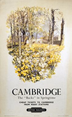 Vintage Railway Travel Poster - - Cambridge - 1950.