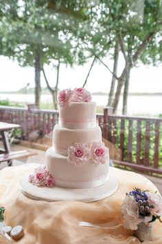 Pink wedding cake http://goodbyemiss.com/wedding/an-intimate-wineport-lodge-wedding-from-roberta-cotter-photography