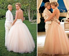 Portia de Rossi Portia de Rossi and Ellen tied the knot in an intimate backyard wedding. Portia rocked a stunning pink creation by Zac Posen. The dress was a backless halter top creation with a large tulle skirt. Dillards Wedding Dresses, Pretty Wedding Dresses, Wedding Dress Sizes, Bridal Wedding Dresses, Designer Wedding Dresses, Celebrity Wedding Photos, Celebrity Wedding Dresses, Wedding Dresses Photos, Celebrity Weddings